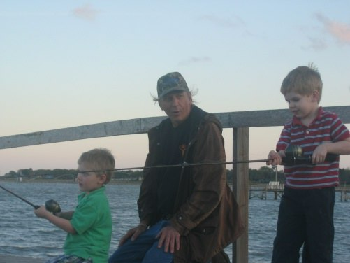 On the pier fishing with Bubba 1 and Bubba 2